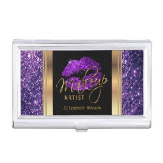 Deep Purple Glitter Lips on Gold & Black Business Card Holder