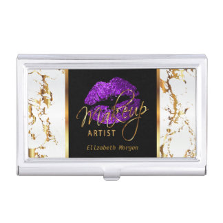 Deep Purple Glitter Lips on Gold & White Marble Business Card Holder