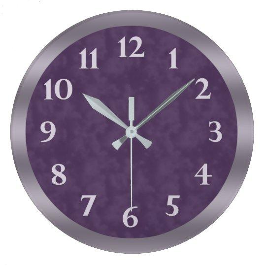 Deep Purple Lavender Grey Large Clock
