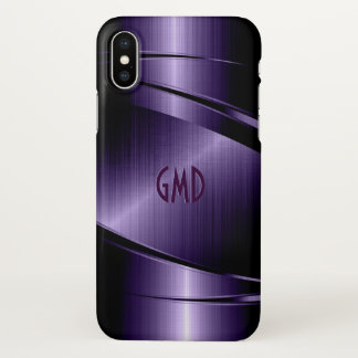 Deep Purple Metallic Geometric Design iPhone X Case
