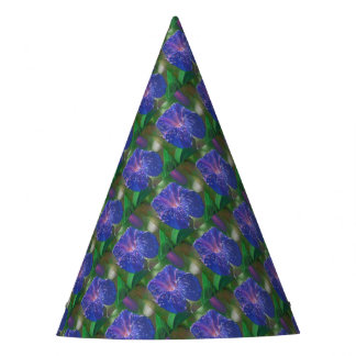 Deep Purple Morning Glory With Morning Dew Party Hat
