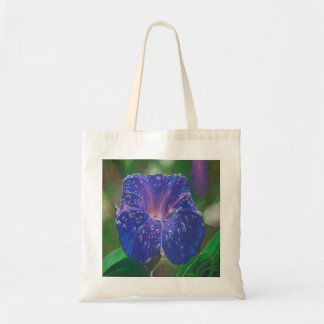 Deep Purple Morning Glory With Morning Dew Tote Bag