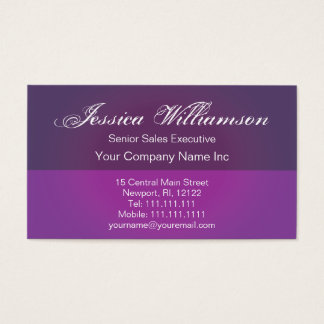 Deep Purple Plum Glow Elegant Script Business Card