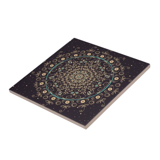 Deep Purple Sky Mandala Ceramic Art Tile