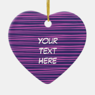 Deep Purple Stripes Pattern Gifts Double-Sided Heart Ceramic Christmas Ornament