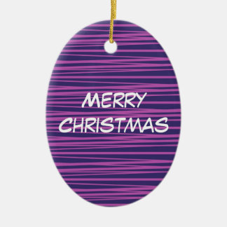 Deep Purple Stripes Pattern Gifts Double-Sided Oval Ceramic Christmas Ornament