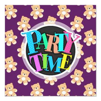Deep Purple Teddy Bear, Bears 13 Cm X 13 Cm Square Invitation Card