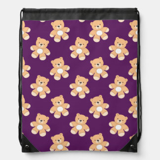 Deep Purple Teddy Bear, Bears Drawstring Bag