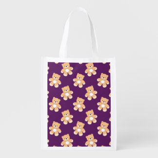 Deep Purple Teddy Bear, Bears Reusable Grocery Bag