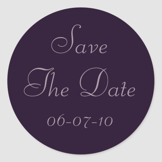 Deep Purple Violet Save The Date Wedding Stickers