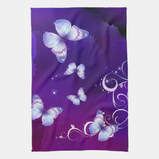 Deep Purple Watercolor Butterfly  American MoJo Ki Hand Towel