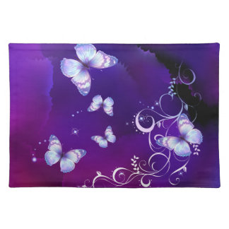 Deep Purple Watercolor Butterfly American MoJo Pla Placemat