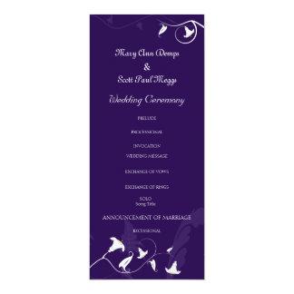 Deep Purple with white Lillies 10 Cm X 24 Cm Invitation Card