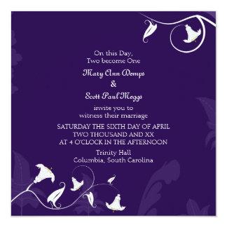 Deep Purple with white Lillies 13 Cm X 13 Cm Square Invitation Card