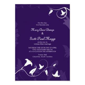 Deep Purple with white Lillies 13 Cm X 18 Cm Invitation Card