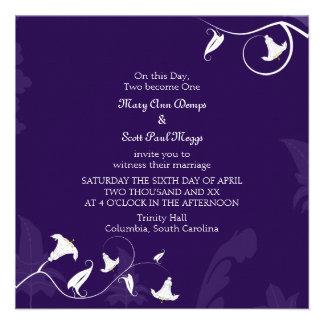 Deep Purple with white Lillies Invites