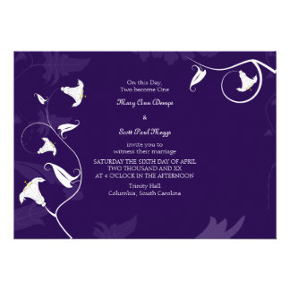 Deep Purple with white Lillies Invite