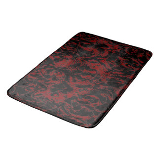 Deep Red Abstract Ornament Bath Mat