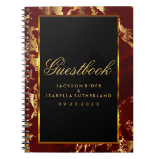 Deep Red and Gold Marble and Black - Guestbook Spiral Note Book