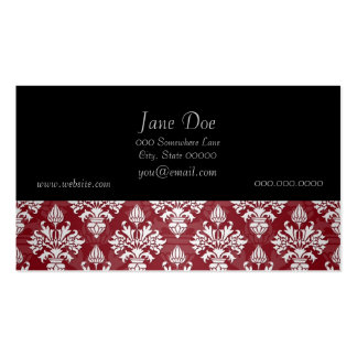 Deep Red and White Floral Damask Pattern Pack Of Standard Business Cards