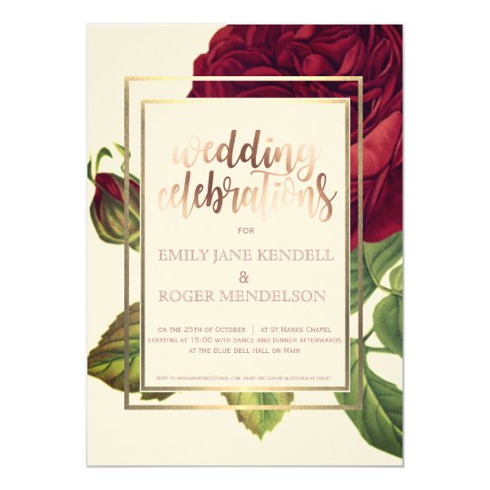 Deep Red and White Floral Painting Invitation