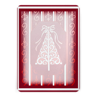 Deep Red And White Swirls Stripes Christmas Tree Cards