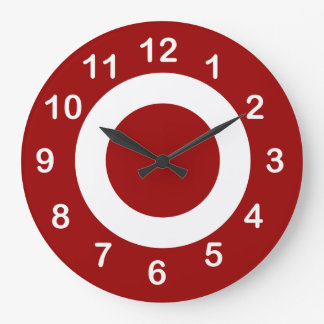Deep Red and White Target-Circles Clock