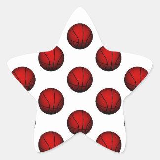 Deep Red Basketball Pattern Sticker