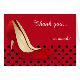 Deep Red, Black Polka Dots and Red Pumps Card