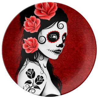Deep Red Day of the Dead Sugar Skull Girl Plate