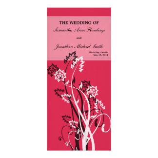 Deep Red Floral Wedding Program Rack Card Design
