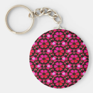 deep red flowers basic round button key ring