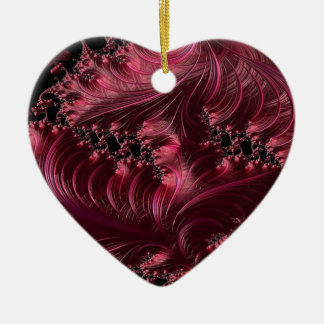 Deep Red Fractal Ceramic Heart Decoration