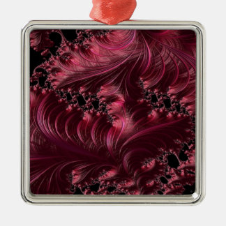 Deep Red Fractal Christmas Ornament