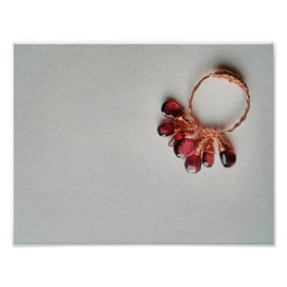 Deep red garnet cluster copper braid ring poster