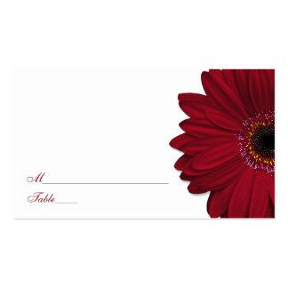 Deep Red Gerber Daisy Wedding Place Cards Business Card