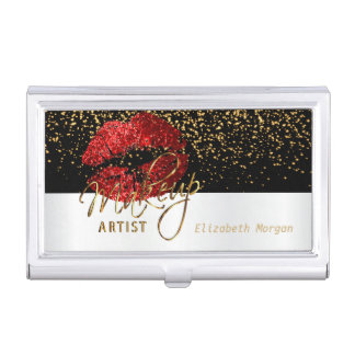 Deep Red Glitter Lips on White & Black Business Card Holder