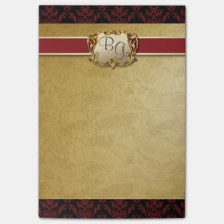 Deep Red & Gold Elegant Wedding Post-It Pad 2 Post-it® Notes
