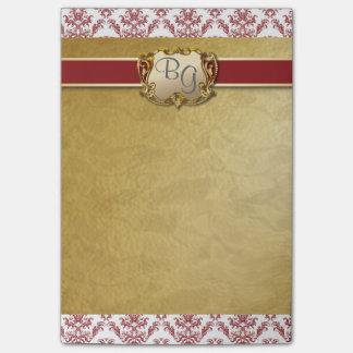 Deep Red & Gold Elegant Wedding Post-It Pad Post-it® Notes