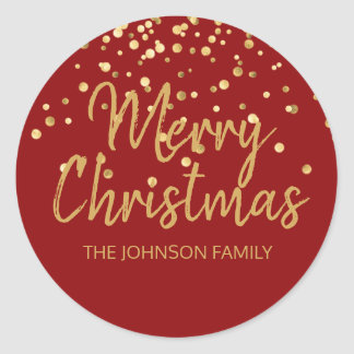 Deep RED Gold Glitter Confetti Merry Christmas Classic Round Sticker