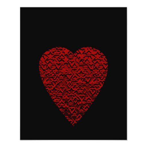 Deep Red Heart. Patterned Heart Design. Flyer Design