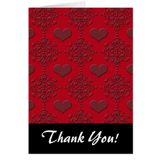 Deep Red Hearts Damask Pattern Card