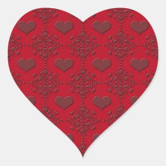 Deep Red Hearts Damask Pattern Heart Sticker