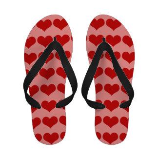 Deep Red Hearts Flip-Flops