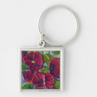 Deep Red Hollyhocks Keychain