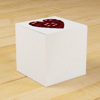 Deep red kaleidoscope heart with white stars favour box