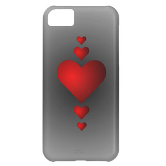 Deep Red Love Hearts iPhone 5C Case
