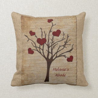Deep Red Love Valentine Hearts Fruit Tree Throw Pillow
