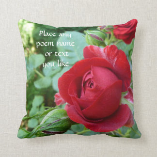 Deep red rose bud pillow