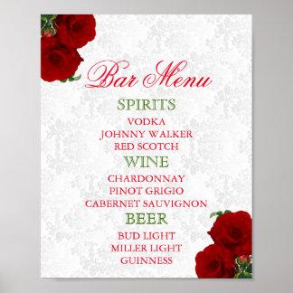 Deep Red Rose Floral Wedding - Bar Menu Poster